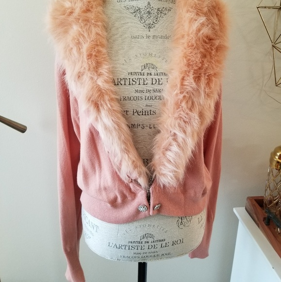 New York & Company Sweaters - New York&Co faux fur pink sweater